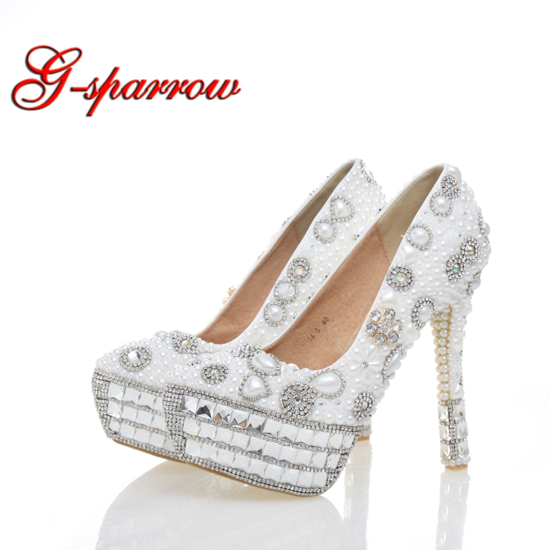 White Pearl Crystal Wedding Shoes Bridal High Heels Sexy Banquet Party Prom Shoes Rhinestone Platform Special Event Pumps white pearl mother of the bride shoes with red bowtie wedding party prom high heels cinderella event shoes bridal pumps