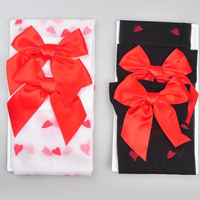 c682dd3a5aa Online Shop Sweet Girls women Red Bow Thigh High Socks Knee Socks Love  Heart Pattern Long Sheer Sexy Stockings For Women Gift