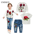 Children Clothing Set Kids Girl Clothes 2017 Spring Girls Sets Brand Rose Floral Jacket+T-Shirt +Jeans 3pcs Girls Clothing Suit