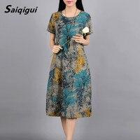 Saiqigui Moda primavera estate manica Corta vestito delle donne in cotone e Lino vestito casuale Stampa Allentato o-collo abiti da festa