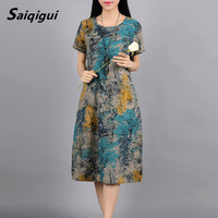 Saiqigui Spring Summer 2017 Fashion Short Sleeve Women Dress Casual Print Cotton And Linen Dress O