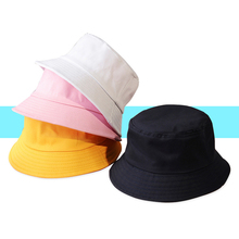 Unisex Summer Foldable Fisherman Bucket Hat 2019 New Solid Color Women Men Outdoor Sunscreen Cotton Fishing Cap Casual Visor Hat