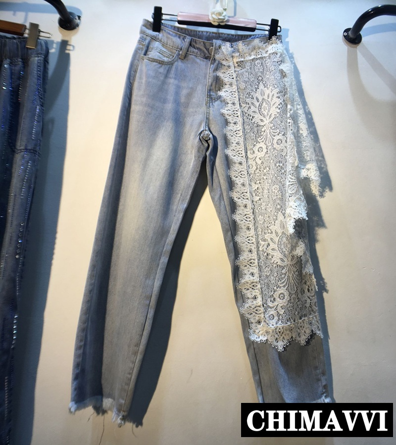 European 2019 Spring And Summer Hook Lace Stitching High Waist Jeans Pants Women's Fashion Denim Trousers Pants