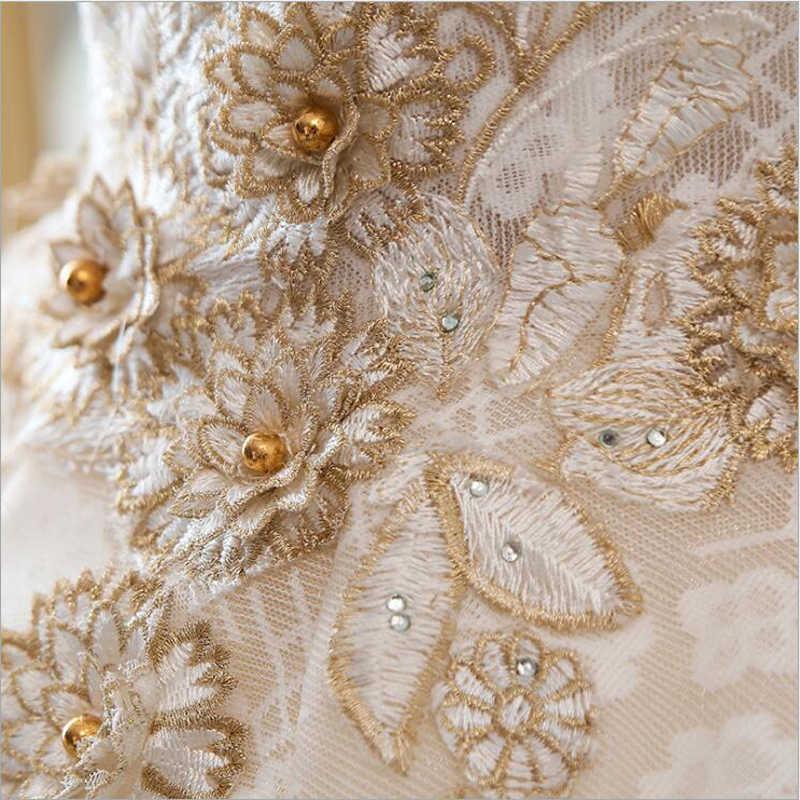Lüks yeni tekne boyun kısa kollu aplikler lüks boncuklu dantel düğün elbisesi için gelin törenlerinde düğün Bridals Vestido De Noiva