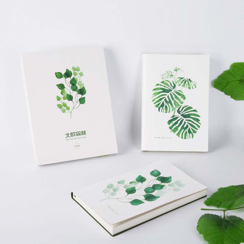 Notebook Notepad Journal A5 Green Plant Day Planner PU Leather Sketchbook Travel Diary Book School Stationery Office Supplies cute nature animal plant a5 notebook 32 page notepad diary journal office school supplies free shipping