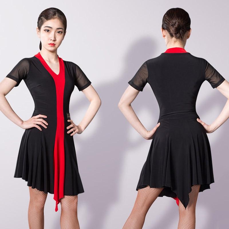 Latin Dance Dress Lady Short Sleeve Samba Cha Cha Tango Salsa Ballroom Dancing Clothes Women Practice Performance Wear DNV11747