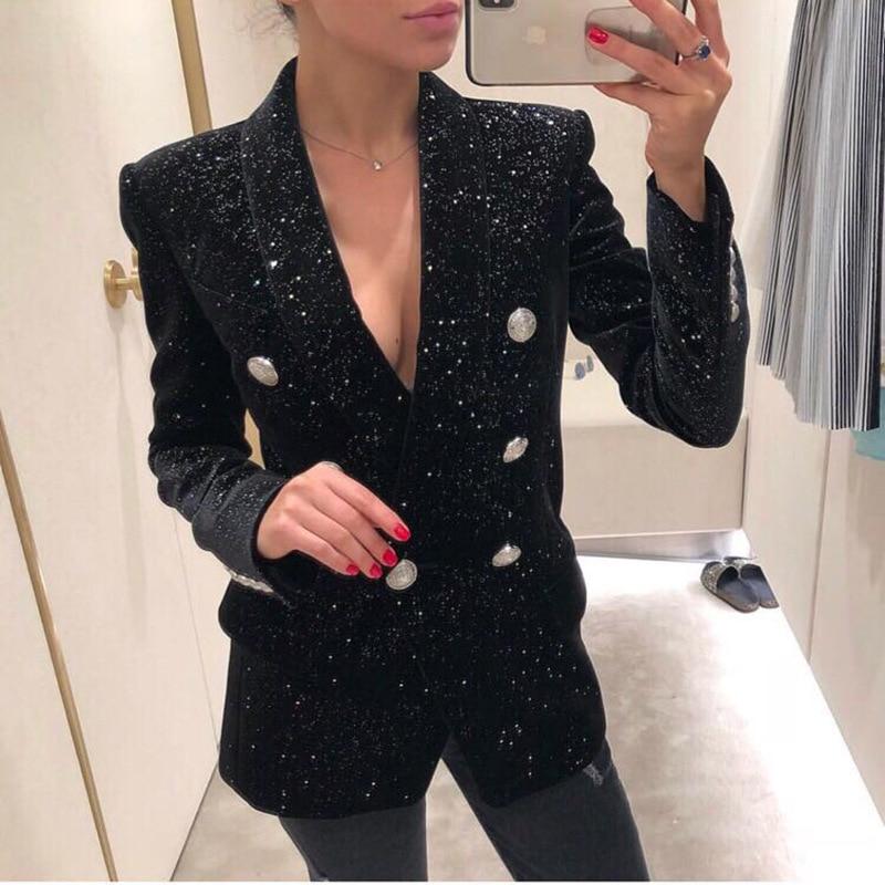 European American 2019 Autumn Winter Explosion Silver Button Green Collar Shining Star Sparkles Smooth Velvet Suit Black Women