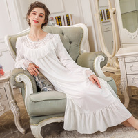 Soft Cotton Long Nightgowns For Women White Lace Nightdress Royal Princess Long Nightgowns Sleep Dressing Gown Plus Size 8801