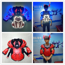 Wecool hot sale blue white glowing color LED armor costumes suit for dj stage show performance ballroom