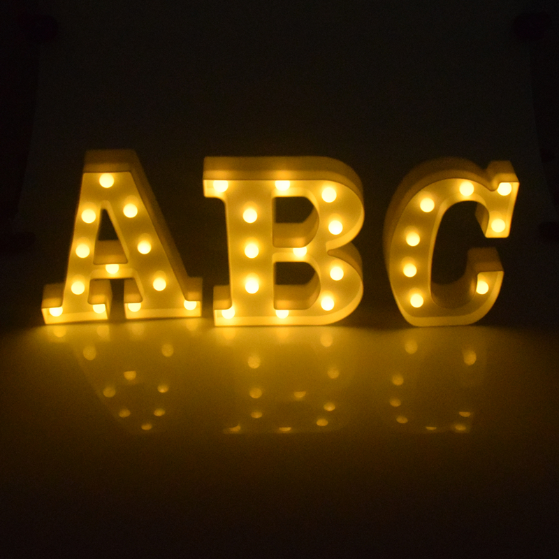 AIFENG Decorative Led Light Up Letters White Plastic Marquee Sign Party Wedding Decor Battery Operated Letters Light xmas letters led marquee sign light up vintage plastic neon light indoor deration free shipping