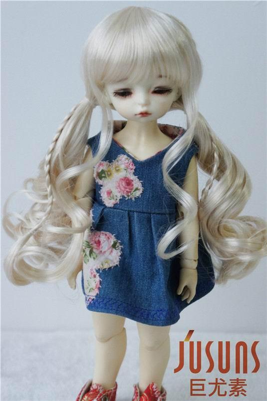 купить JD337 1/6 16-18cm YOSD synthetic mohair BJD doll wigs 6-7inch BB doll double long pony braid wigs дешево