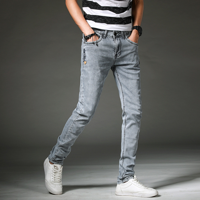 Height 2018 mens elastic jeans fashion students cultivate ones morality and feet pencil pants