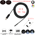 6 LEDs 7MM OTG USB Endoscope Camera IP67 Waterproof Snake Inspection Borescope Tube Pipe USB MINI Camera With 10M Rigid Cable