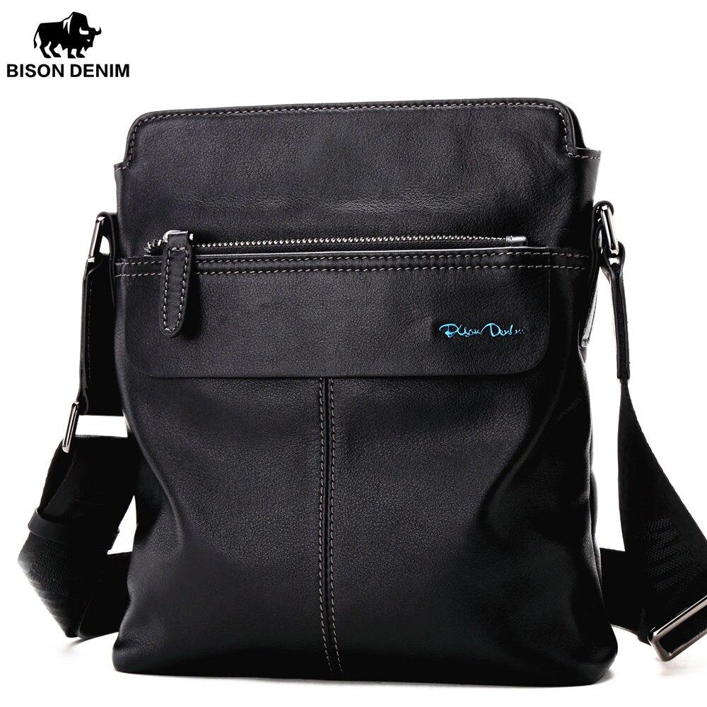BISON DENIM из натуральной яловой кожи Crossbody сумка Ipad Для мужчин сумка на молнии Для мужчин сумка Повседневное мужской сумка N2749-1B ...