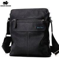 BISON DENIM Genuine Cowhide Leather Crossbody Bag Ipad Men S Bag Zipper Men Messenger Bag Casual