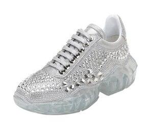 Image 2 - Hot real leather transparent sports flatform shoes blink crystal women size 34 40
