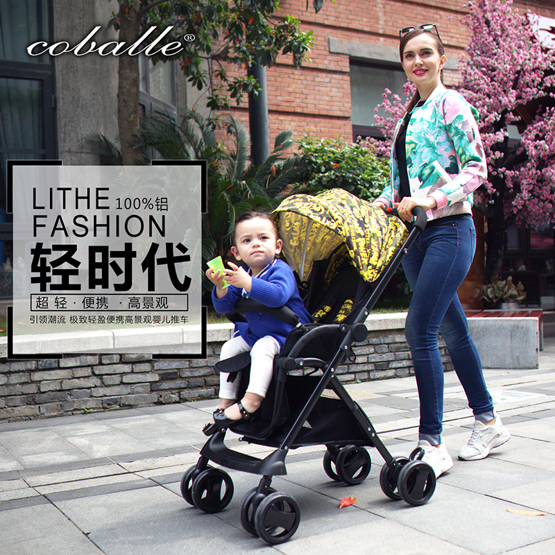 baby stroller high landscape light shock proof foldable portable BB umbrella car can seat lying baby cart twin stroller high landscape can lay the portable folding baby cart