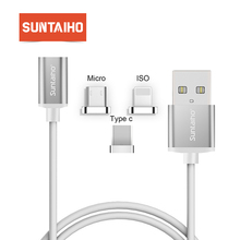 Suntaiho 2 in1 Magnetic cable Fast Charger For iPhone XR 8 7 Plus Magnetic adapter For Samsung Galaxy S10  for redmi Note 7 mi 9