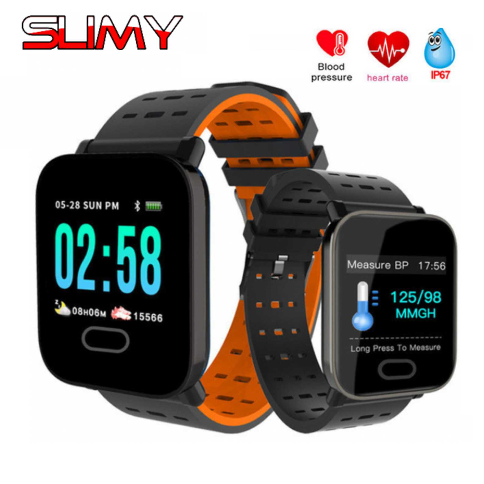 Slimy A6 Smart Watch with Heart Rate Monitor Fitness Tracker Blood Pressure Smartwatch Waterproof For Android IOS PK Q8 V6 S9
