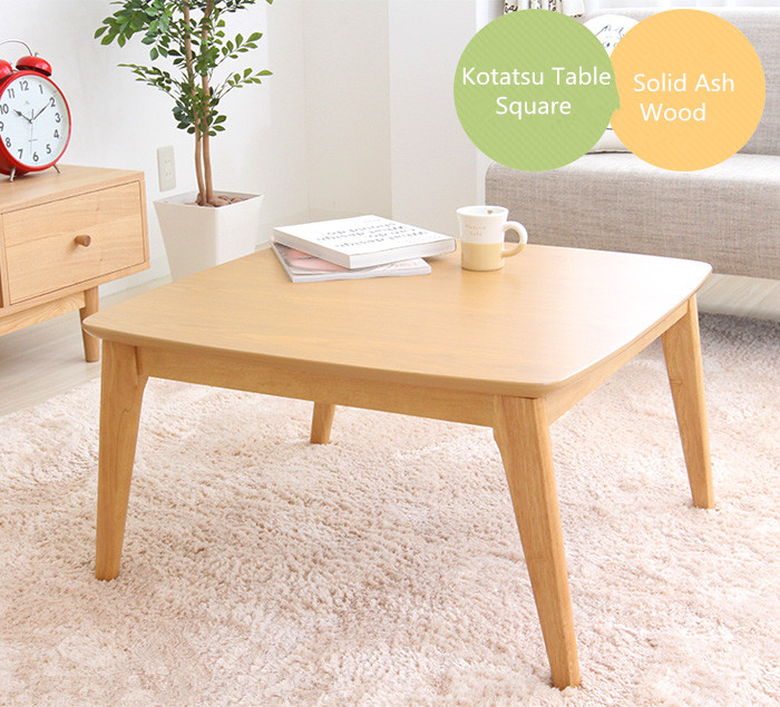 Wooden Kotatsu Table Natural Color for Home and Living Room Furniture Wood Kotatsu Heated Coffee Table Japanese Style Furniture