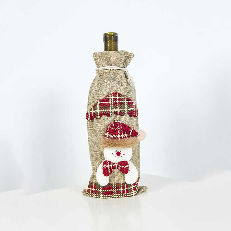 2020 חג המולד אדום יין בקבוק מכסה תיק שלג סעיף סנטה פשתן שמפניה בקבוק מכסה מסיבת חג המולד בית תפאורה שולחן
