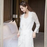 Autumn women sleepwear long white nightgown Robe Chiffon gown bathrobe sling casual clothing modal Lace Sexy Home Clothing