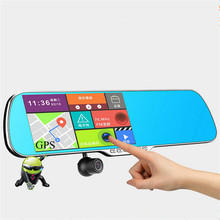 Newest 5.0 inch car camera gps navigator wifi full hd 1080p car dvr mirror android touch rear view mirror camera dual lens