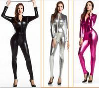 PVC lingerie jumpsuit Womens Zentai Jumpsuit Bodysuit Lycra Spandex Full Body Zentai Suit Sexy Black Shiny Latex Zentai Catsuit