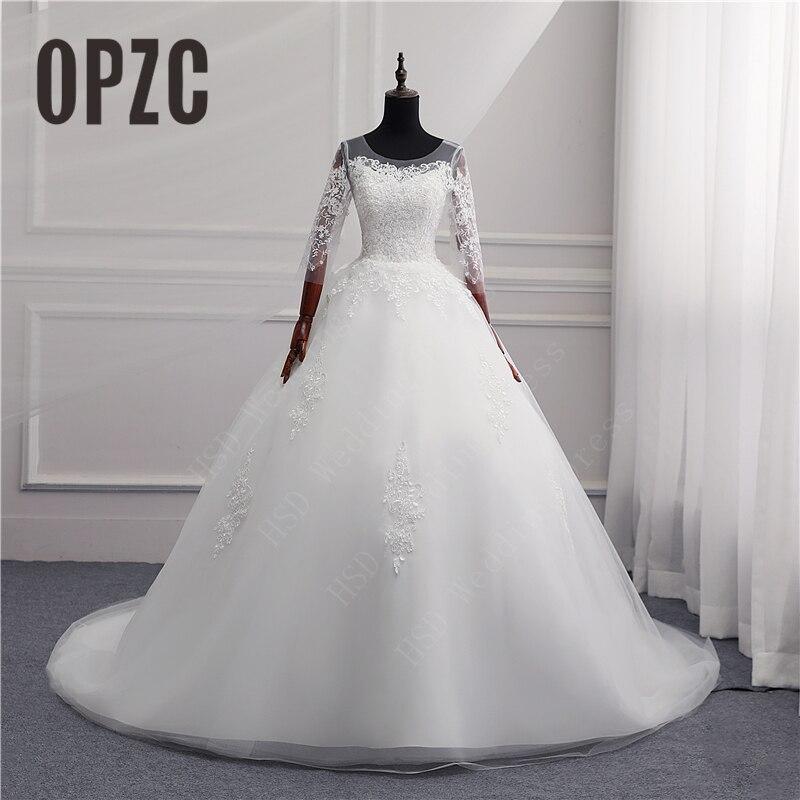 24281d96d16 35% Discount Fashion Simple 2018 Wedding Dresses Lace Train Three Quarter  Sleeve Sweet Elegant Plus
