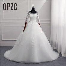 d87b9c102 35% خصم أزياء بسيطة 2018 فساتين زفاف دانتيل قطار ثلاثة أرباع كم حلو أنيق  زائد الحجم vestido de noiva bride