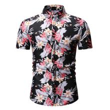Flower Mens Shirt Fashion New Summer model Shirts Clothing Floral Blouse Men Slim fit Camisa masculina