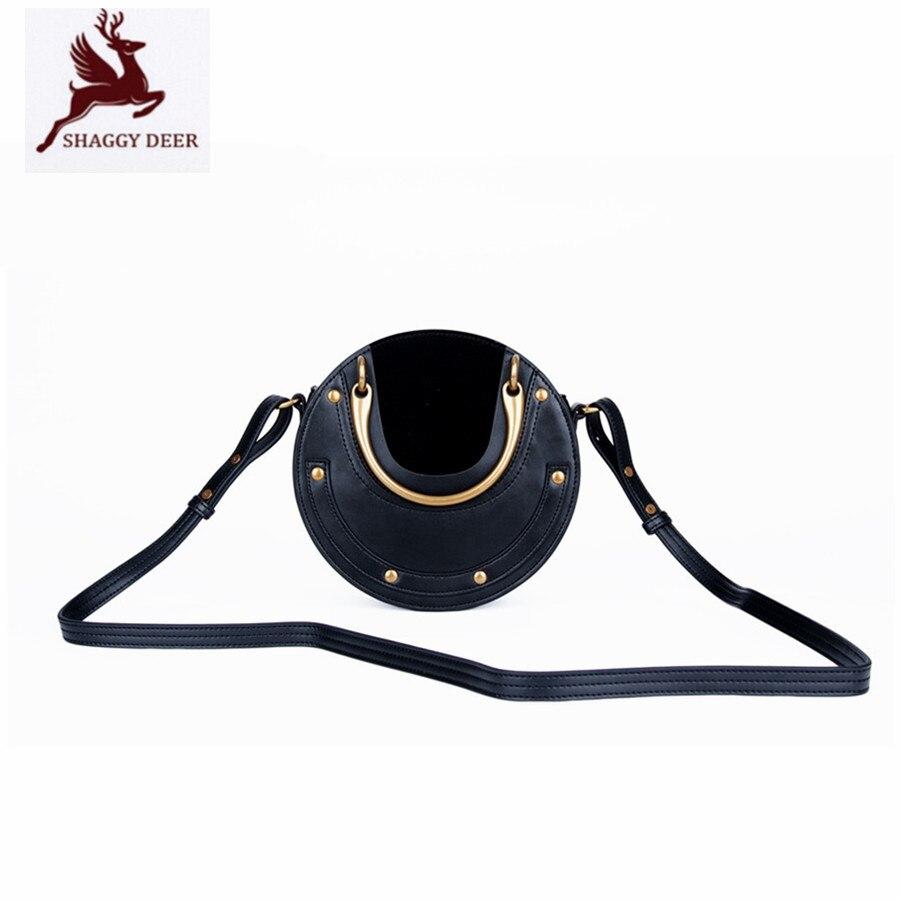 2017ss Luxury Vintage Patchwork Cow Leather Saddle Handbag lady circular Moon Rivets Metal Ring handle Crossbody Shoulder Bag