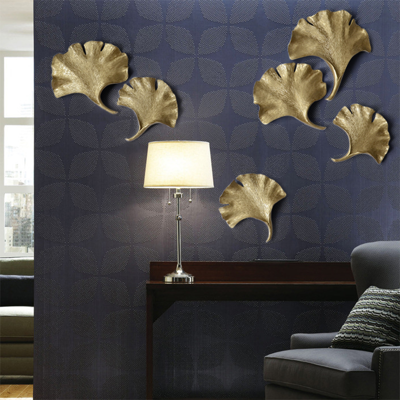 Coffee shop Restaurant living room wall decorations 3d bedroom resign Ginkgo leaf diy decorative sticker Wall Hanging|Figurines & Miniatures|Home & Garden - title=