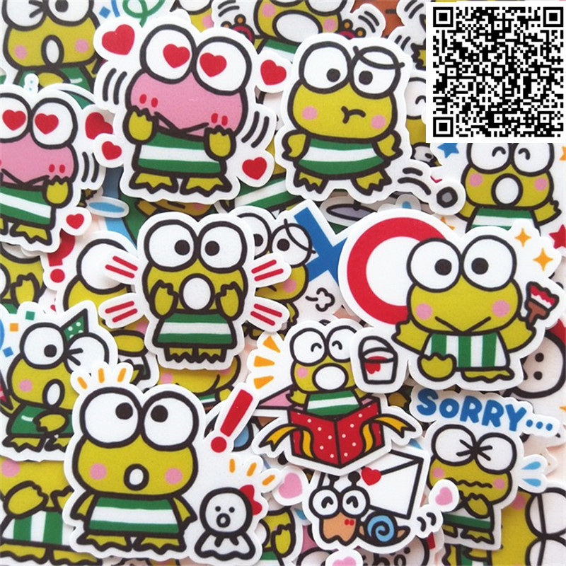 New 40 Pcs Little Frog Face Decal Mobile/PC Car Phone Self Waterproof Scrapbooking Stickers Car Sticker Wedding Decoration