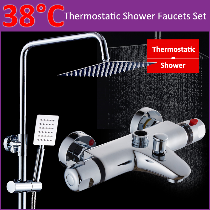 Quyanre Thermostatic Shower Faucets Set Chrome Ultrathin Rainfall Shower Head Thermostatic Mixing Mixer Tap Valve Handshower traditional faucet chrome thermostatic bathroom faucets plastic handshower dual holes shower mixer tap