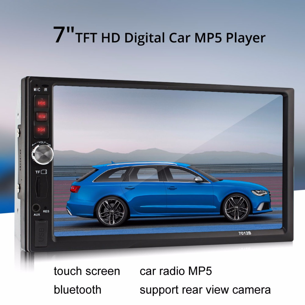 7012B 7 Inch Bluetooth TFT Screen Car Audio Stereo MP5 Player 12V Auto 2-Din Support AUX FM USB SD MMC 2 din car radio mp5 player universal 7 inch hd bt usb tf fm aux input multimedia radio entertainment with rear view camera