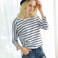 Loose Patchwork Cotton Striped T Shirt Women 2017 New Arrival Fashion Spring Casual O-Neck Plus Size Top Tees vetement femme