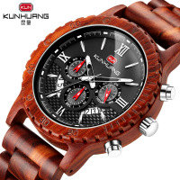 Luxury Red Sandalwood Watches Men Classic Handmade Wood Watch Multifunctional Sports Chronograph Wrist Watch Gifts Clock Men