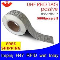 UHF RFID tag sticker Impinj H47 wet inlay EPC6C 915mhz868mhz860 960MHZ Higgs3 5000pcs free shipping adhesive passive RFID label