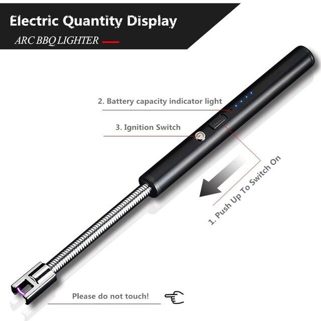 Encendedores de cigarrillos recargables USB de rotación 360, encendedores electrónicos de cocina largos, arco encendedor eléctrico de Plasma a prueba de viento, novedad