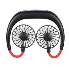 цены на 2019 Hands-free Neck Band Hands-Free Hanging USB 1200mAh Rechargeable Neckband Lazy  Dual Fan Mini Air Cooler Summer Portable  в интернет-магазинах
