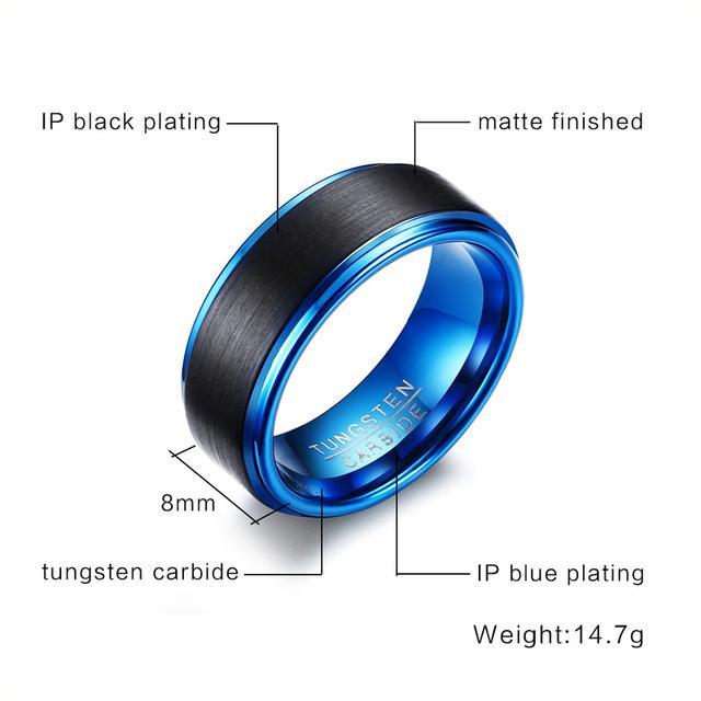 8MM Wide Black/Blue Tungsten Carbide Wedding Bands For Men Trendy Matte Finished Wedding Rings