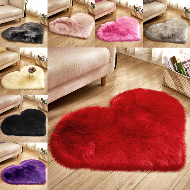 Heart Shaped Faux Fur Rug