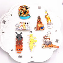 1 Pcs Harajuku Icon Kartun Ditumpuk Kucing Pikachu Animal Anjing Bros Pins Akrilik Lencana Wanita Wanita Bros Ransel Lencana(China)