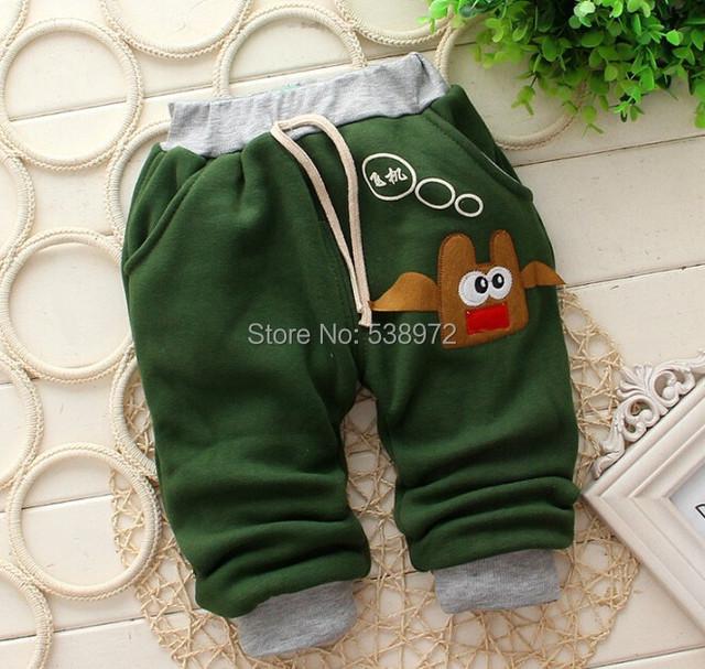 2015 pantalones de niña, modelos de invierno gruesa bebé caliente pantalones harén muchacho y muchacha del algodón del bebé pantalones 7-24 mes
