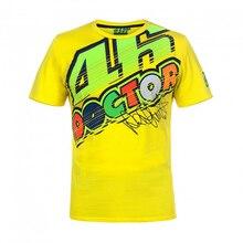Бесплатная доставка! Валентино Росси Moto GP желтая футболка Двигатель Racing 46 Доктор желтый Tee