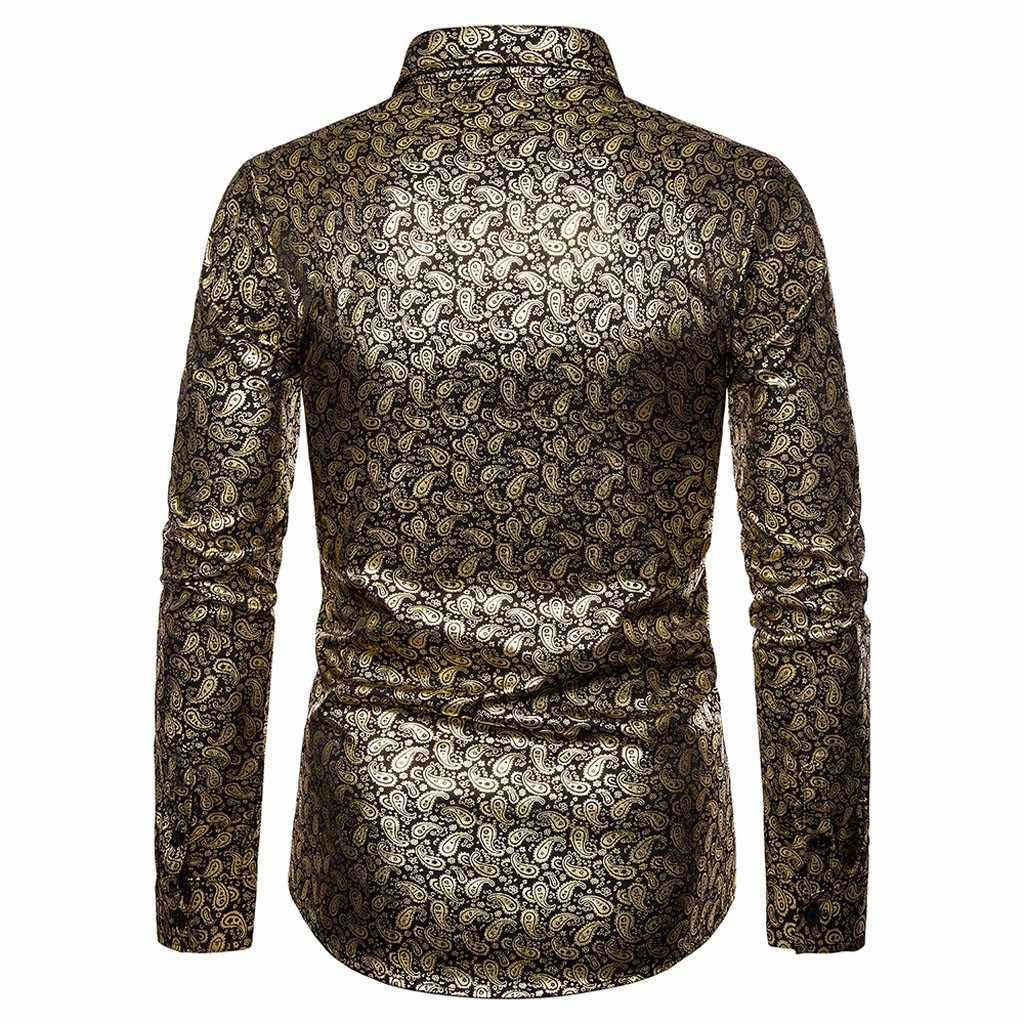 新しい秋の冬 2019 男性の男プリントターンダウントップス服襟ボタン長袖シャツ大サイズ # G6