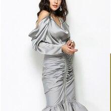 فستان بصدر واسع بدون أكتاف