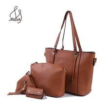 Women Ladies PU Leather Handbags Shoulder Bag Purse Key Bag 4 Pieces Set Handbag Set Composite Hand Bags Interior Zipper Pocket