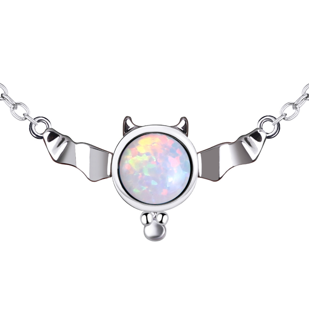 KELITCH Top Bat Synthetic Opal Pendant Necklace Charming Birthstone Choker Necklace